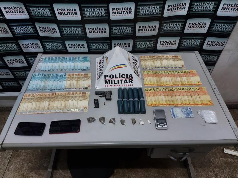 Procurado é preso com drogas, arma de fogo e mais de R$ 4 mil
