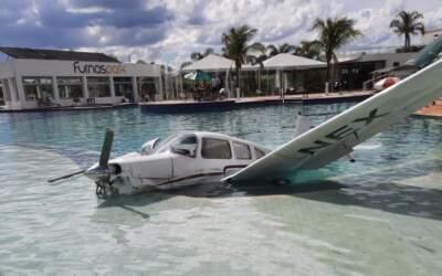 Avião cai em piscina de resort em Formiga